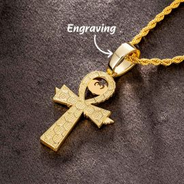 Egyptian Ankh Pendant with Eye of Horus in Gold