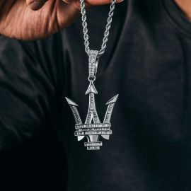 Baguette Stone Trident Pendant in White Gold