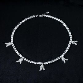 5mm Upside Down Bunny Heads Tennis Chain in White Gold
