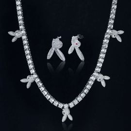 Iced Upside Down Bunny Head Tennis Chain and Earrings Set in White Gold
