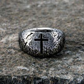 Cross Monument Stainless Steel Ring