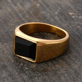 Punk Vintage Square Black Cubic Zirconia Smooth Stainless Steel Ring in Gold