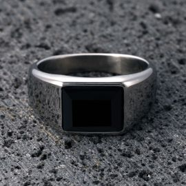 Punk Vintage Square Black Cubic Zirconia Smooth Stainless Steel Ring