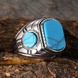 Retro Vintage Stainless Steel Blue Gem Ring