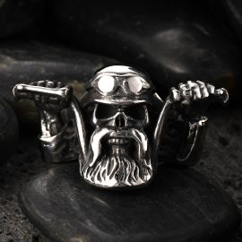 Cycling Pirate Stainless Steel Skull Ring