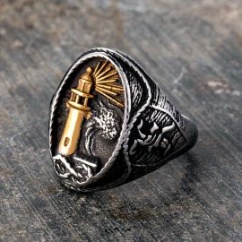 Gold Lighthouse Hourglass Stainless Steel Marine Ring