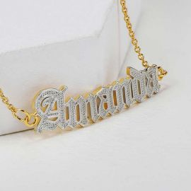 Personalized Two Tone Old English Font Name Bracelet