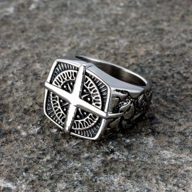 Pirate Compass Cross Stainless Steel Ring
