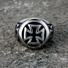 Vintage Iron Cross Stainless Steel Ring
