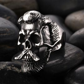 Retro Bearded Man Stainless Steel skull Ring