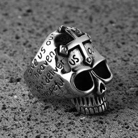 Vintage Cross Letters Stainless Steel skull Ring
