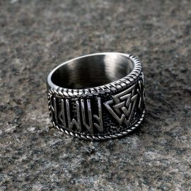 Odin Runes Valknut 316L  Stainless Steel Viking Ring
