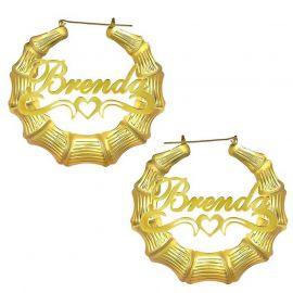 Personalized Bamboo with Heart Name Hoop Earrings