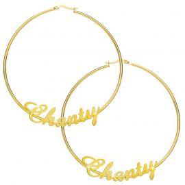 Personalized Name Hoop Earrings in Gold
