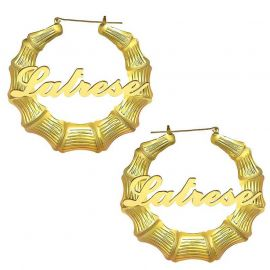 Personalized Bamboo Name Hoop Earrings in Gold