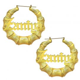Personalized Bamboo Old English Name Hoop Earrings in Gold