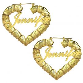 Personalized Heart Bamboo Name Hoop Earrings in Gold