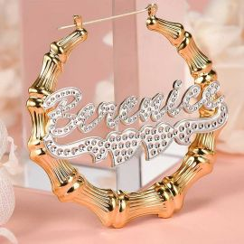 Personalized Two Tone Double Heart Bamboo Name Hoop Earrings