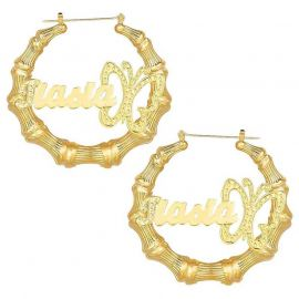 Personalized Butterfly Bamboo Name Hoop Earrings in Gold