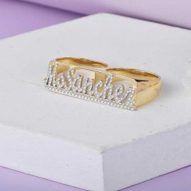 Personalized Carved Two Finger Name Ring
