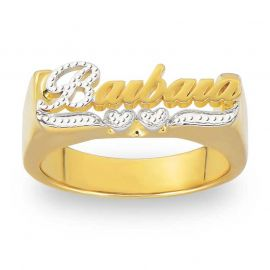 Personalized First Letter and Double Heart Engraved Name Ring