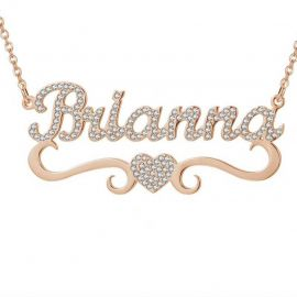 Personalized Iced Name Necklace with Heart