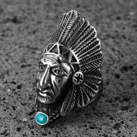 Native American Indian Chief Head Biker Stainless Steel Ring