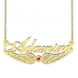 Personalized Angel Wing with Birthstone Name Necklace