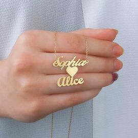 Personalized Two Names Necklace with Heart