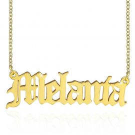 Personalized Old English Font Name Necklace