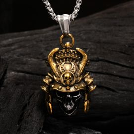 Gold Ghost Warrior Stainless Steel Skull Pendant