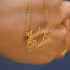 Personalized Two Names Heart Necklace