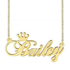 Personalized Crown Engraved  Name Necklace