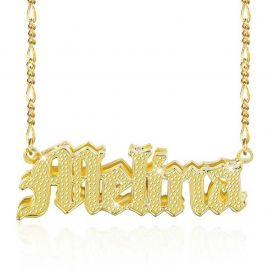 Personalized 3D Gothic Font Name Necklace in Gold