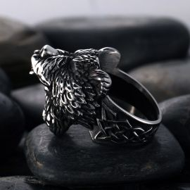 Bear Warrior Biker Stainless Steel Viking Ring