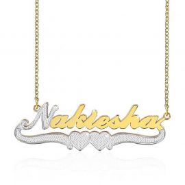 Personalized Two Tone Two Heart Name Necklace