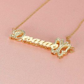 Personalized Butterfly 3D Name Necklace  in Gold