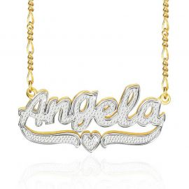 Personalized Two Tone Heart Name Necklace