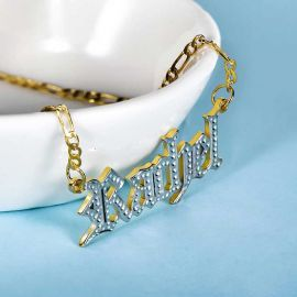 Personalized Two Tone Old English Font Name Necklace