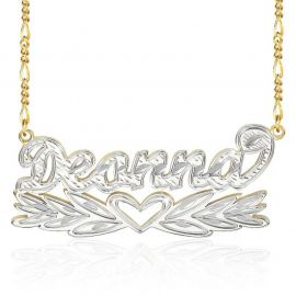 Personalized Two Tone Wing Heart Name Necklace
