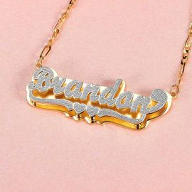 Personalized Double Layer Two Tone Name Necklace with Two Heart