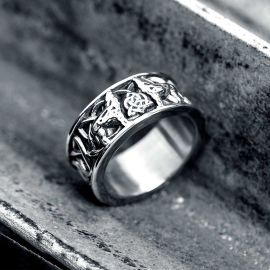 Fenris-wolf Stainless Steel Viking Ring