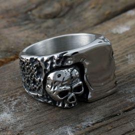 Corner Skull Stainless Steel Ring