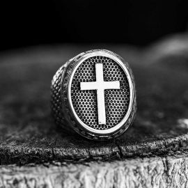 Dragon Scale Pattern Stainless Steel Cross Ring