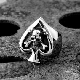 Spades Stainless Steel Skull Ring