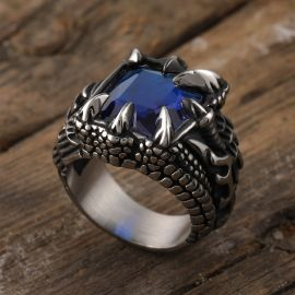 Cool Dragon Claw Stainless Steel Blue CZ Ring