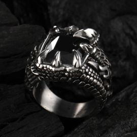 Cool Dragon Claw Stainless Steel Black CZ Ring