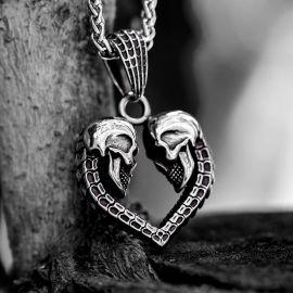 Heart Shaped Skull Stainless Steel Pendant