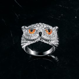 Iced Owl Ring in White Gold