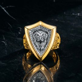 Iced Roaring Lion Shield Ring in Gold